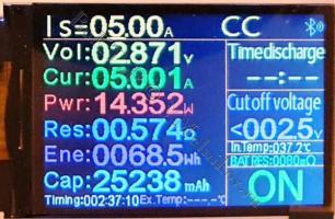 LiFePO4 аккумулятор под нагрузкой 5А, отдано 25А*ч