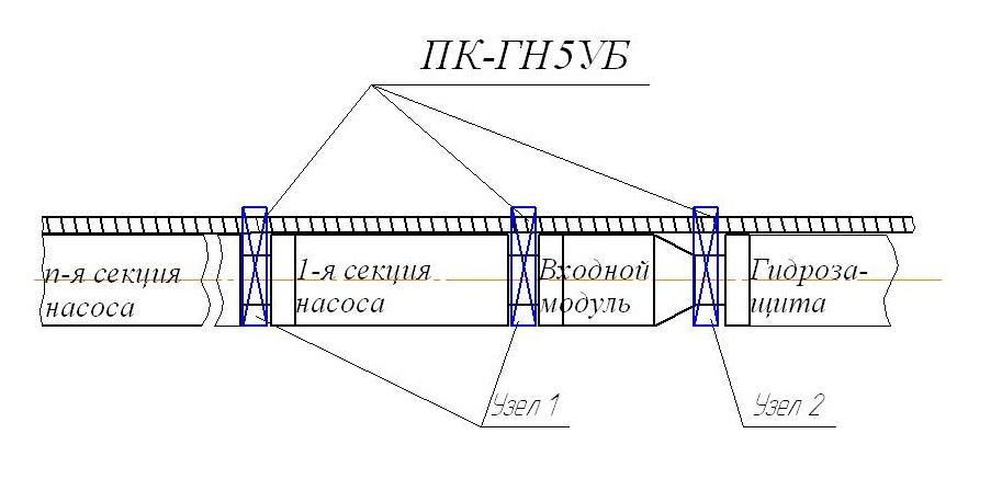 Размещение протектолайзеров ПК-ГН5УБ в компоновке УЭЦН