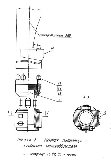 Монтаж центратора на основание погружного электродвигателя ПЭД