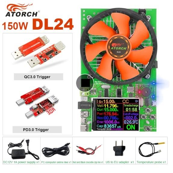 Электронная нагрузка DL24 150 Ватт в комплекте с QC3.0 и PD3.0 триггерами фирмы ATORCH