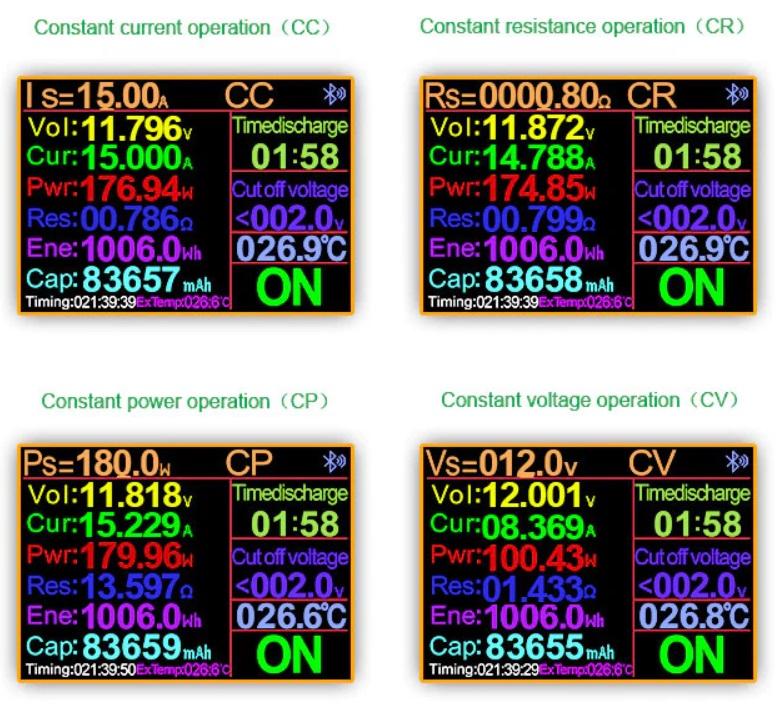 Четыре режима работы электронной нагрузки DL24 150 Ватт фирмы ATORCH